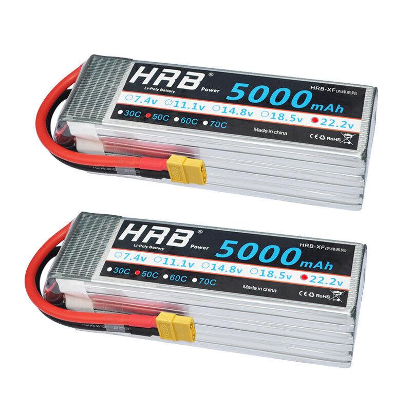 2pcs hrb 22.2v 65 5000mah lipo batterie 50c 100c fr rc helikopter - flugzeug - drohne