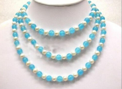 Infinite charm 7-8mm White Akoya Pearl Turquoise Necklace 36 inch