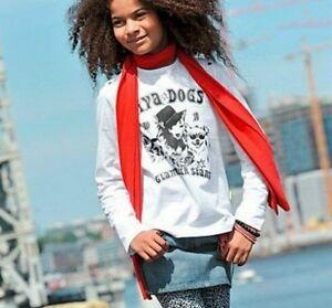 Great-Girls-Long-Sleeve-Shirt-Diva-Dogs-Print-White-Black-Top-116-122-New