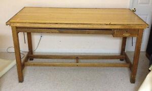Image Is Loading Hamilton Drafting Table Desk Solid Wood Wooden Oak