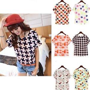 Fashion-Top-Women-Girl-Summer-Chiffon-Loose-Blouse-Multicolor-T-shirt-Top