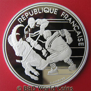 1991-FRANCE-100-FRANCS-SILVER-PROOF-HOCKEY-IBEX-1992-ALBERTVILLE-OLYMPICS-w-COA