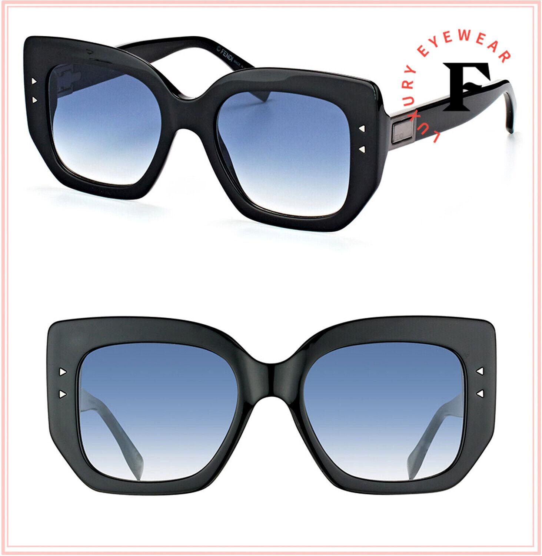 FENDI PEEKABOO FF0267S Black Oversized Squared Sunglasses 0267 Women Authentic