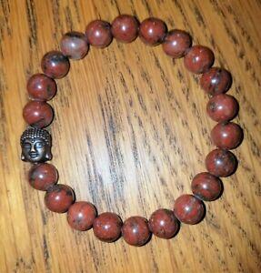 Super Charged Red Jasper 8mm Bead Stretch Bracelet & Bronze Buddha charm, Reiki!