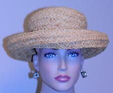 "vintage Woman'S Hat Unbranded Raffia Straw Unbrim Raffia Band 21 13/16"" Pristine"