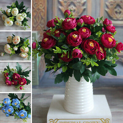 6 Branches Artificial Fake Peony Flower Home Hotel Hydrangea Decoration