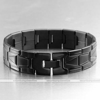 """Punk Men's Stainless Steel Link Chain Bracelet Cuff Classic Wristband Bangle 8""""L"""