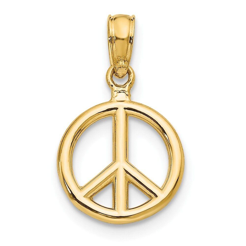 14KT Polished Peace Symbol Pendant