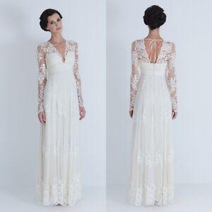 Simple Long Sleeve Lace V-neck Retro Wedding dresses Chiffon Bridal ...