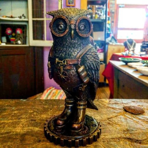 SHIPS IMMEDIATELY Steampunk Owl with Jetpack Statue On Gears Sculpture Figurine