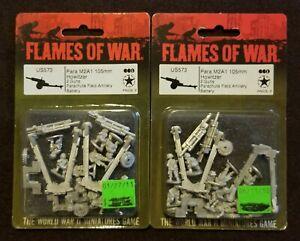 Flames of War American - US573 Paratrooper M2A1 105mm Howitzer - Lot of 2 – OOP