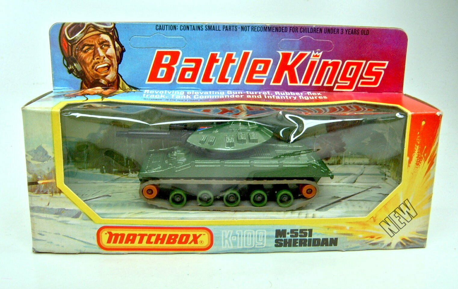 Matchbox BATTLE KING K-109 M551 Sheridan Green Metallic Top in Box