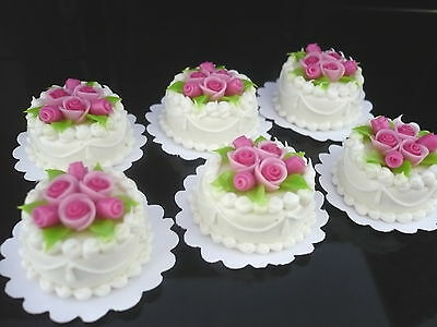 1X Tiny Pink Wedding Cake Rose Top Dollhouse Miniatures Food Supply Deco