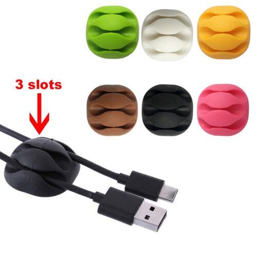 3 pcs Kabelhalter Kopfhörer Wickler Silikon Kabel Clip Ladekabel Desk Organiser