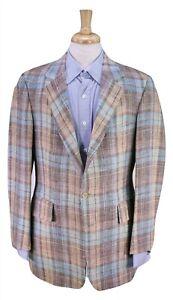 PAUL-STUART-Light-Brown-Aqua-Plaid-Check-Wool-Linen-2-Btn-Sportcoat-Blazer-40R
