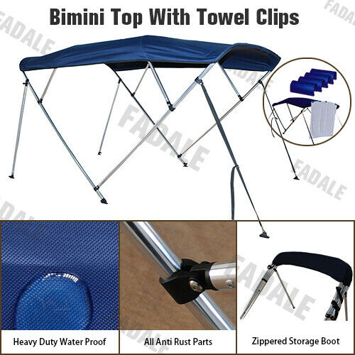 4 Bow Navy Blue Canopy Cover 6ft Boat Bimini Top 3 Bow 8ft Long Freee Clips