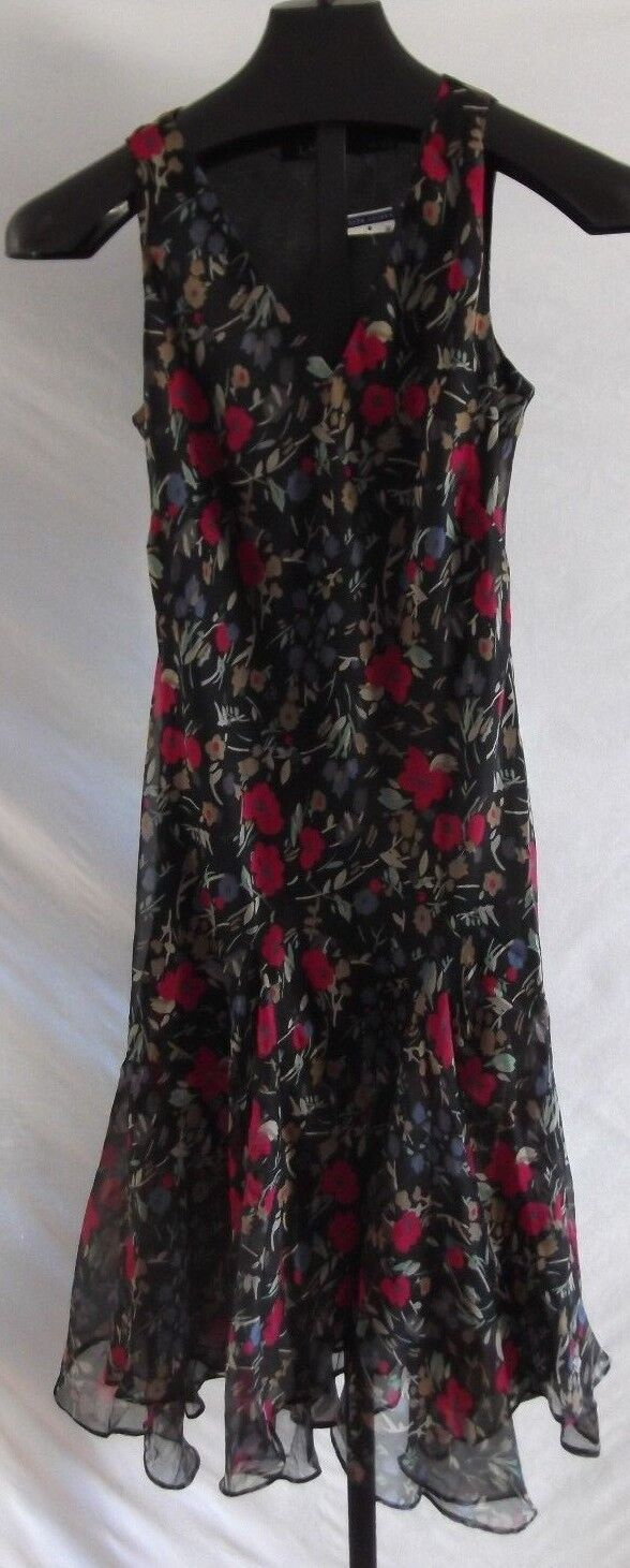 NWT Lauren Ralph Lauren schwarz Burgundy floral Polyester Sleeveless Dress 6P
