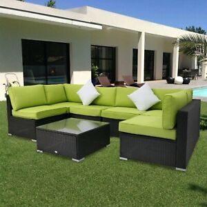 Fabulous Details About Kinbor 7Pc Rattan Wicker Sofa Sectional Green Cushions Patio Furniture Outdoor Inzonedesignstudio Interior Chair Design Inzonedesignstudiocom