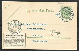 Austria covers 1907 private PC Kallina's Posttarife Wien to The Hague