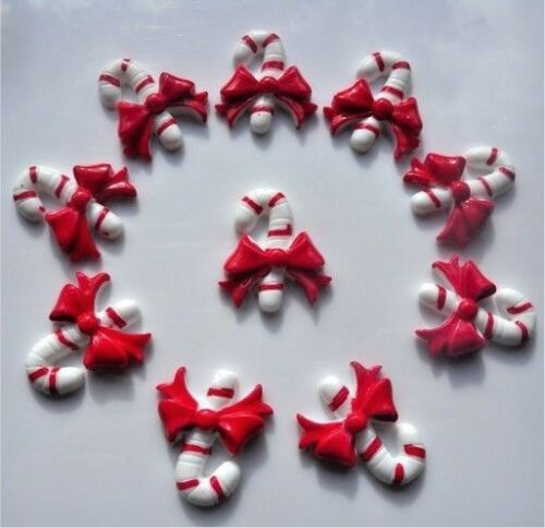 10 CHRISTMAS CANDY CANE RED WHITE STRIPE FLATBACK CABOCHONS RESIN FREE P/&P