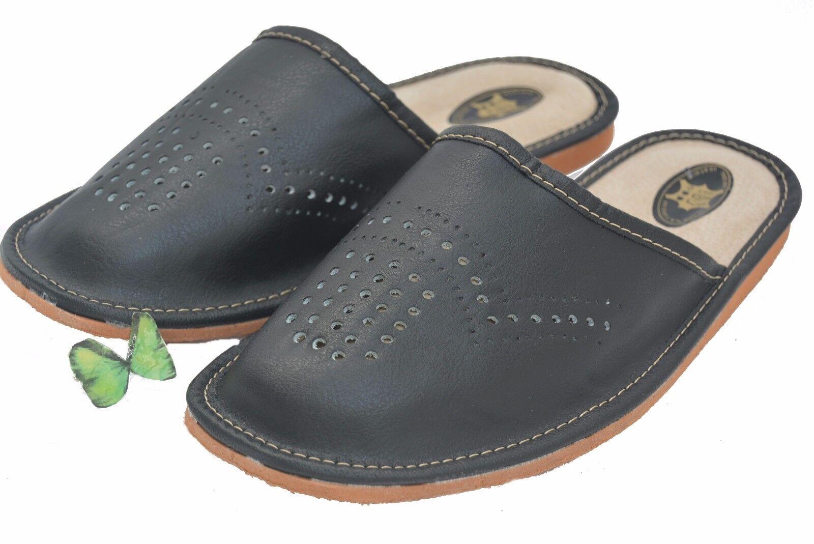 Hombre Pantuflas Zapatos sin talón 100% CUERO NATURAL MANO NEGRA multicolor multicolor NEGRA ec3644