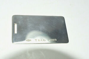 Tiffany-amp-Co-Sterling-Silver-1837-Luggage-Tag-Ready-for-Engraving-w-Pouch-Spain