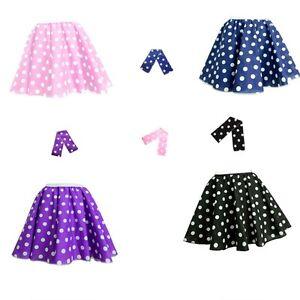 5db02d3dd5d3 17'' ADULTS Polka Dot Rock N Roll Skirt & Scarf Set 1950s 60s Five ...