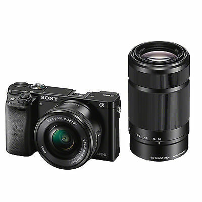 Sony A6000 w/16-50mm PZ Lens & 55-210mm Bundle (Black) w/32GB SDHC *NEW*