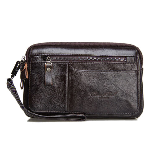Men Genuine Leather Cowhide Mobile Phone Case Purse Pouch Clutch Hand Bag Wallet