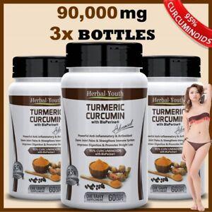3-x-TURMERIC-95-EXTRACT-90-000mg-CURCUMIN-BIOPERINE-PILL-TUMERIC-ANTIOXIDANT