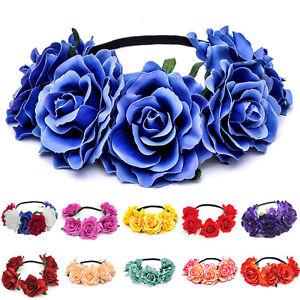 a24ce9c066ce8b Das Bild wird geladen Blumen-Haarband-Kranz-Blueten-geflochten-Stirnband- Haarreifen-Hochzeit-