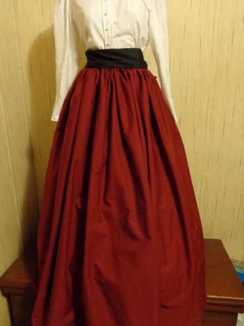Burgundy SCA/renaissance/Civil War/VIctorian/Gothic/Steampunk Skirt w/black sash