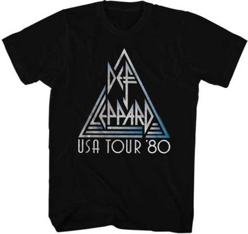 Def Leppard USA Tour 1980 Adult T Shirt Heavy Metal Music