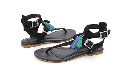 Ugg Lecia Leather Suede Tassel Color Pop Sandal Black Size