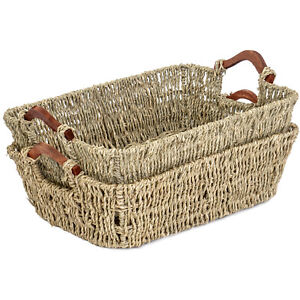 Multi-Purpose Seagrass Storage Basket Tray Organizer with Wooden Handle Set of 2