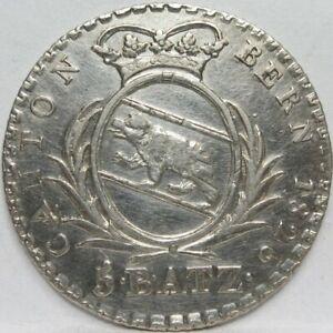 SWITZERLAND-5-Batzen-Silver-1826-Canton-Bern-Bear-XF-A41