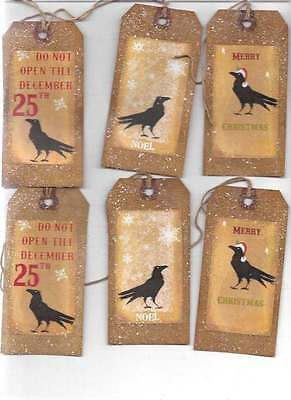 12~CHRISTMAS TAGS     CROW ,NOEL,   PRIMITIVE GRUNGY TAGS