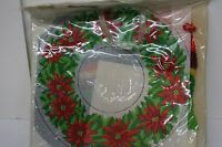 Vintage Queen's Court Needlepoint Kit Poinsettia Doily Includes Wool Yarn