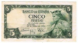 Details about Spain Banco de Espana Cinco Pesetas Banknote 1954 King  Alfonso X, Madrid Library