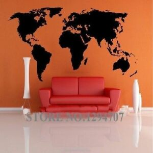 1 Pcs 200X90Cm Best Selling Big Global World Map Vinyl Wall Sticker Home Decor W