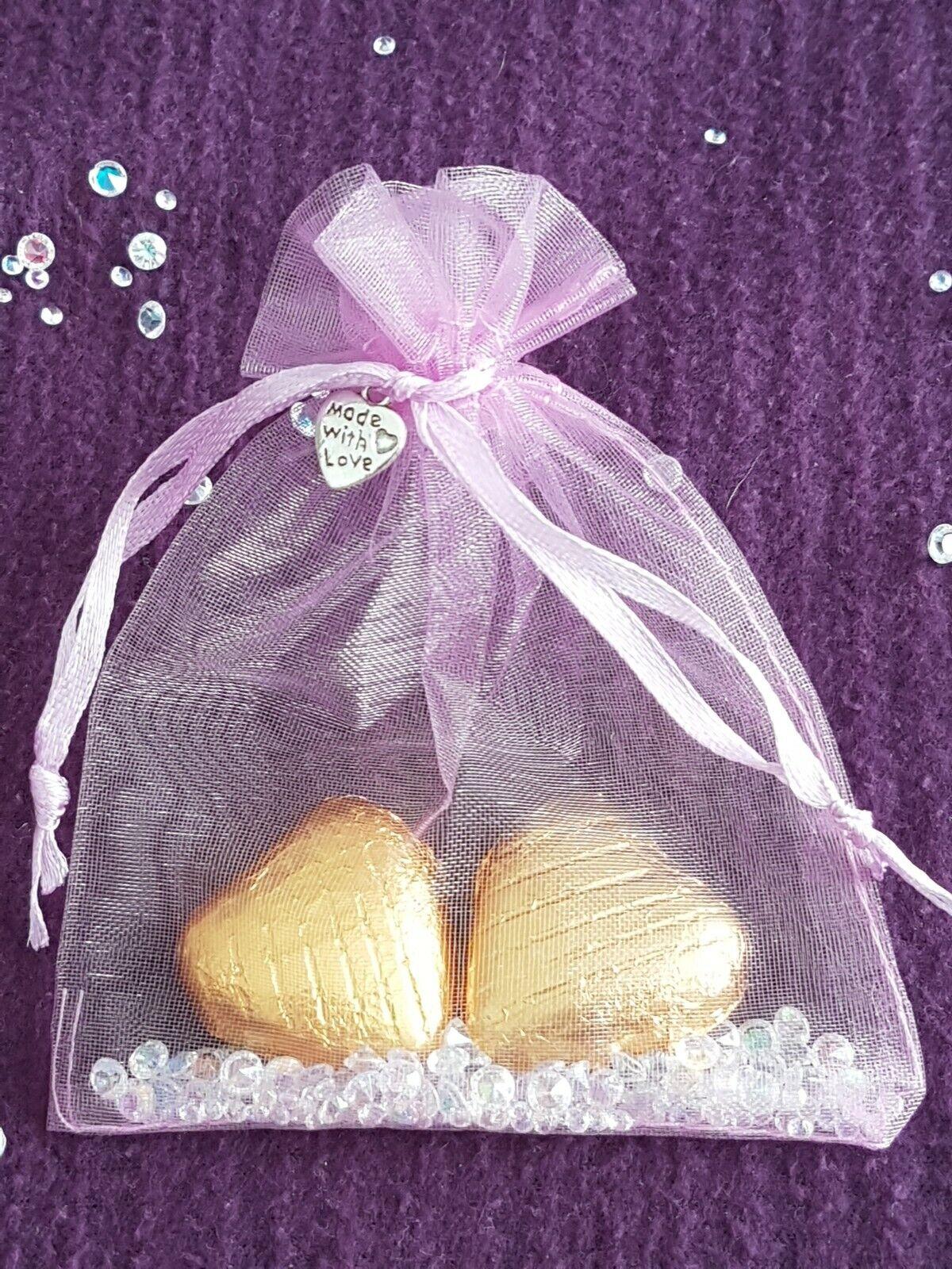 100 Festa Di Nozze Favori Gallina Baby Shower regali. sventate Cioccolato Cuori Organza