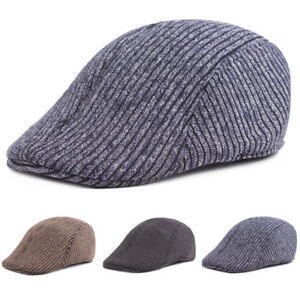 Homme-a-Rayures-De-Conduite-Golf-Cap-chaud-Taxi-beret-Newsboy-Hat-New-Fashion