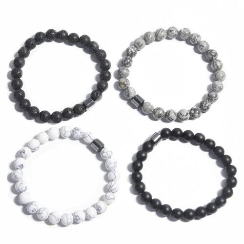 Men Women Natural Stone 8mm Lava Rock Bracelet Elastic Yoga Beads Brace/>v