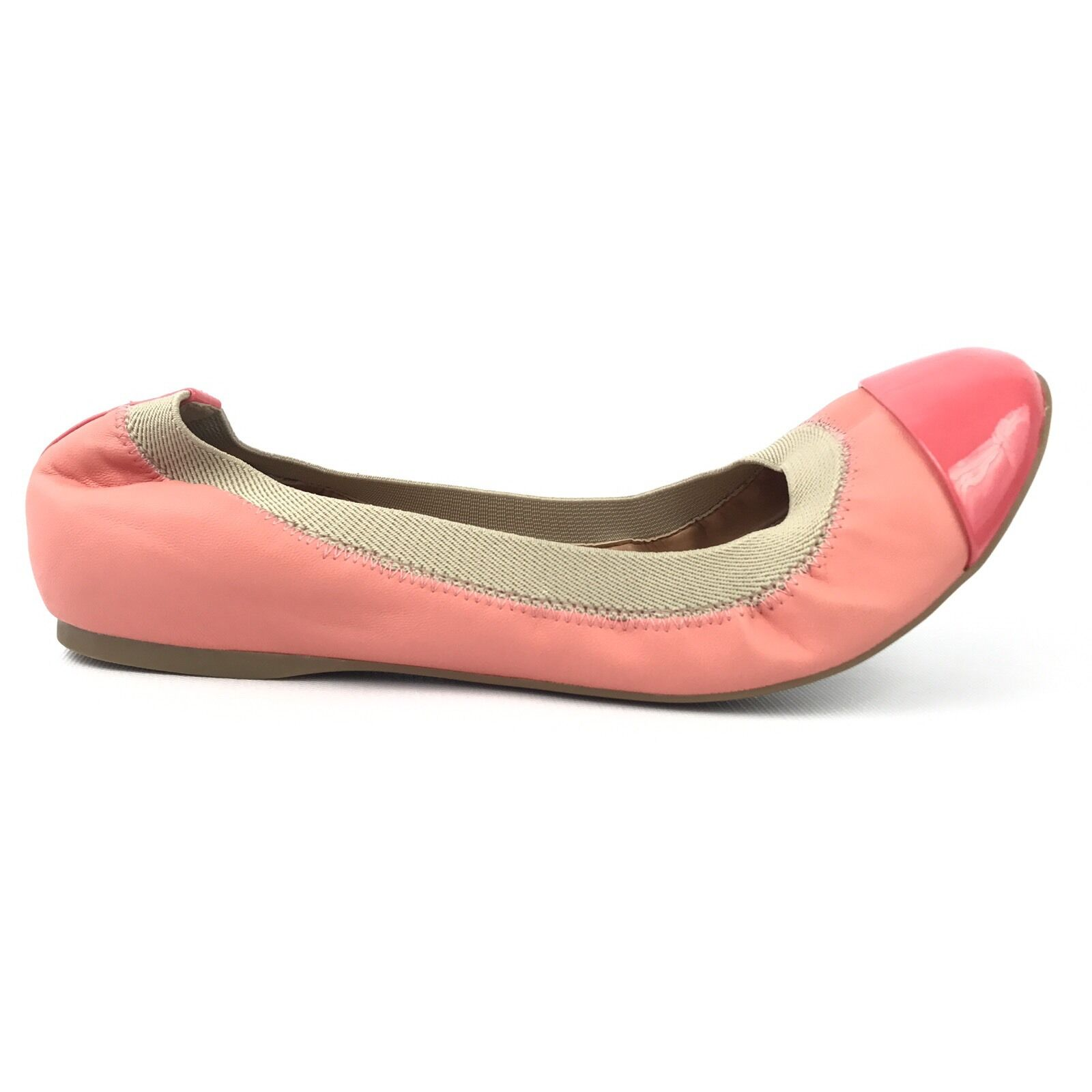 J Crew Flats 8.5 Ballet Round Toe Slip On Elastic Leather Coral Rubber Bottom