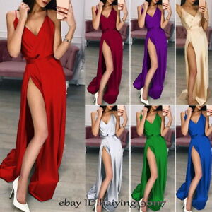 Sexy-Women-V-Neck-Silky-Maxi-Cocktail-Party-Evening-Long-Dress