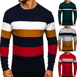 Pullover-Sweater-Pulli-Sweatshirt-Rundhals-Sport-Gestreift-Herren-Mix-BOLF-Motiv