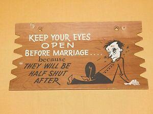 VINTAGE-9-034-X-5-034-FUNNY-POSTCARD-PLAK-KARD-WALL-DECORATION-EYES-OPEN-MARRIAGE