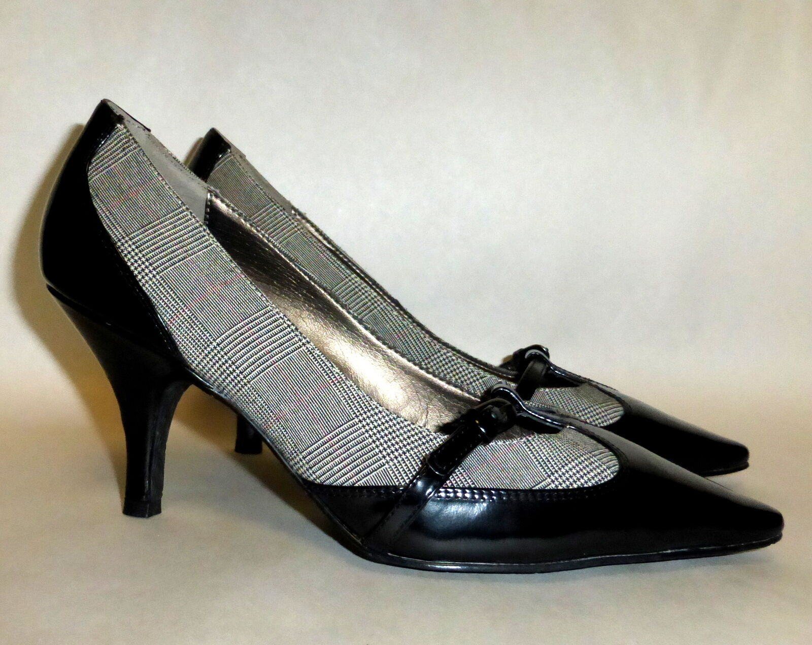 Women's Circa & Joan & Circa David Black Leather & Grey Checkered Textile High Heels 7.5 219262