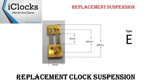 Type E Repair, 20 x 6 x 9mm 1 x Brass Clock Pendulum Suspension Spring