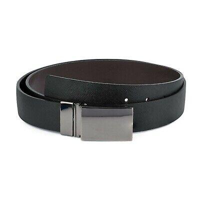 Men/'s Saffiano Leather Belt Reversible belts Two side Black Brown Italian buckle